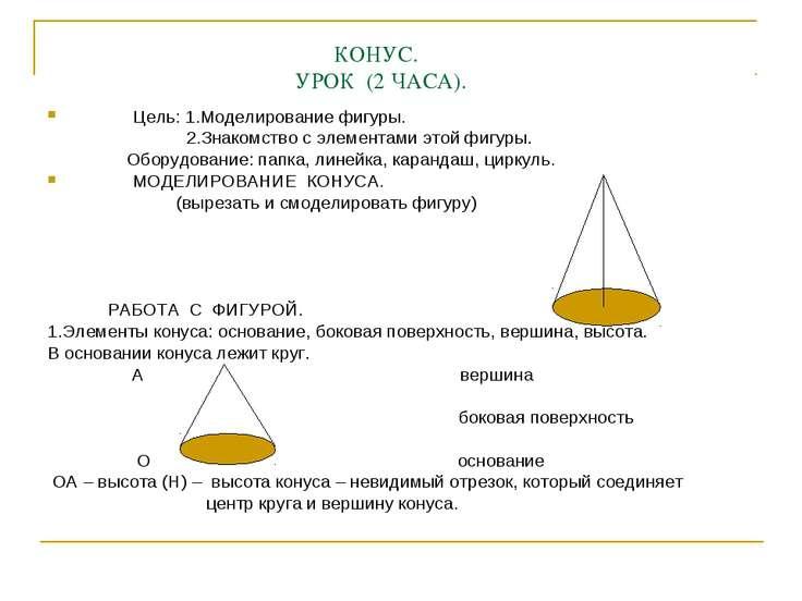КОНУС. УРОК (2 ЧАСА). Цель: 1.Моделирование фигуры. 2.Знакомство с элементами...