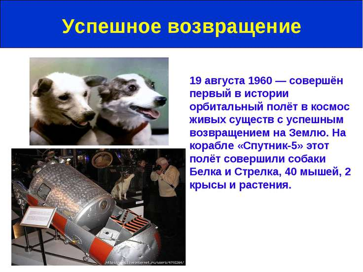 19 августа 1960 — совершён первый в истории орбитальный полёт в космос живых ...
