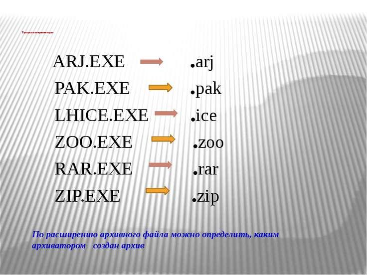 ARJ.EXE .arj PAK.EXE .pak LHICE.EXE .ice ZOO.EXE .zoo RAR.EXE .rar ZIP.EXE .z...