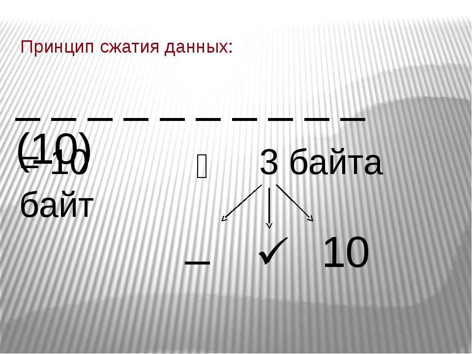 Принцип сжатия данных: _ _ _ _ _ _ _ _ _ _ (10) = 10 байт 3 байта _ 10