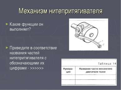 Механизм нитепритягивателя Какие функции он выполняет? Приведите в соответств...