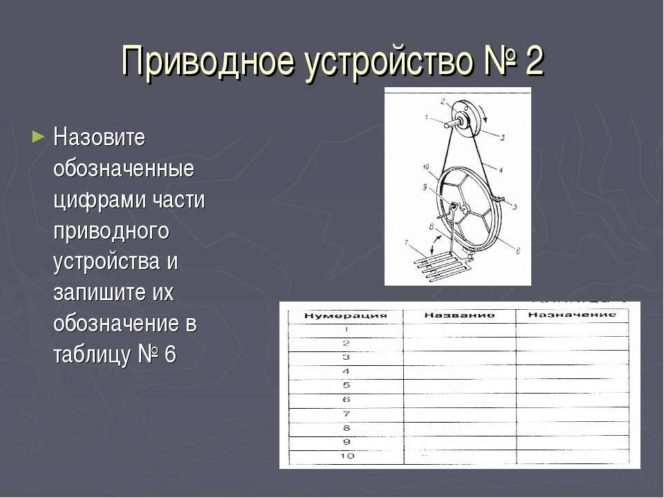 Приводное устройство № 2 Назовите обозначенные цифрами части приводного устро...