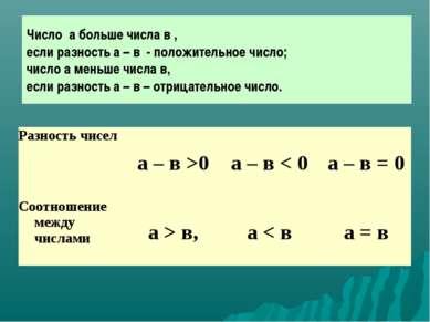 Число а больше числа в , если разность а – в - положительное число; число а м...