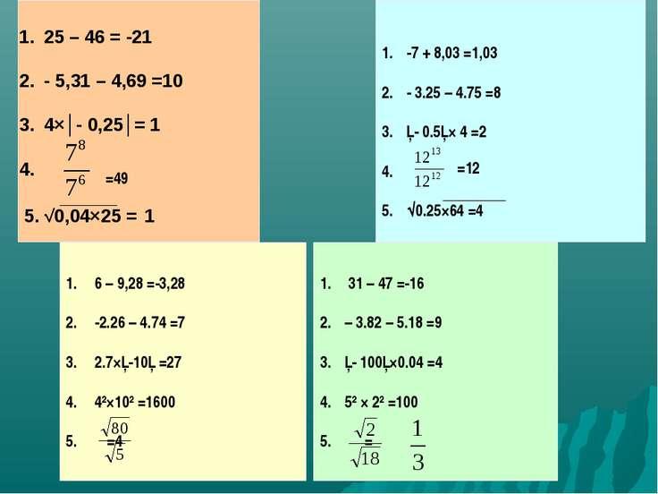 25 – 46 = -21 - 5,31 – 4,69 =10 4×│- 0,25│= 1 4. 5. √0,04×25 = 1 =49 -7 + 8,0...