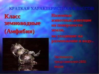 КРАТКАЯ ХАРАКТЕРИСТИКА КЛАССОВ Класс земноводные (Амфибии) Наземные животные,...