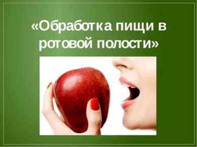 «Обработка пищи в ротовой полости»