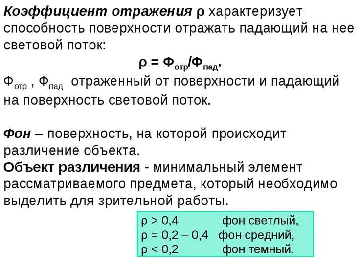 Коэффициент отражения ρ характеризует способность поверхности отражать падающ...