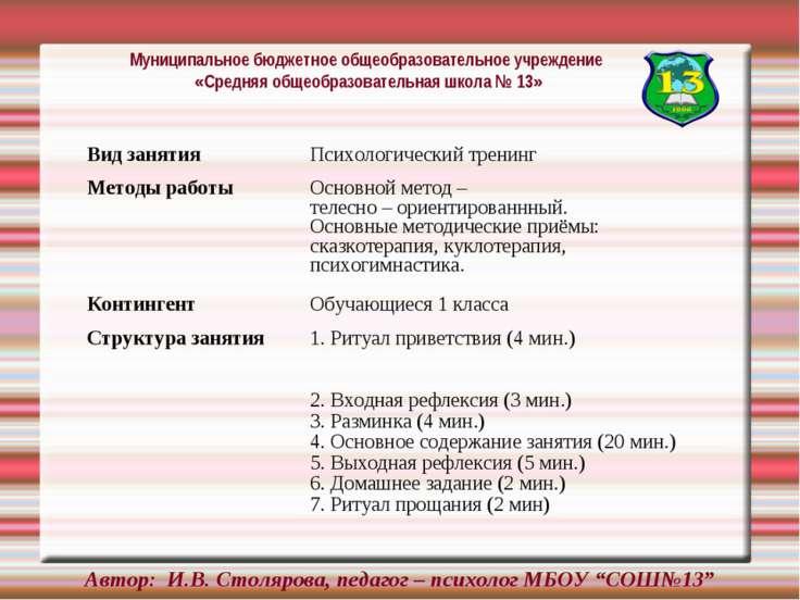 """Автор: И.В. Столярова, педагог – психолог МБОУ """"СОШ№13"""" Вид занятия Психологи..."""