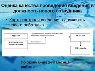 Оценка качества проведения введения в должность нового сотрудника Карта контр...
