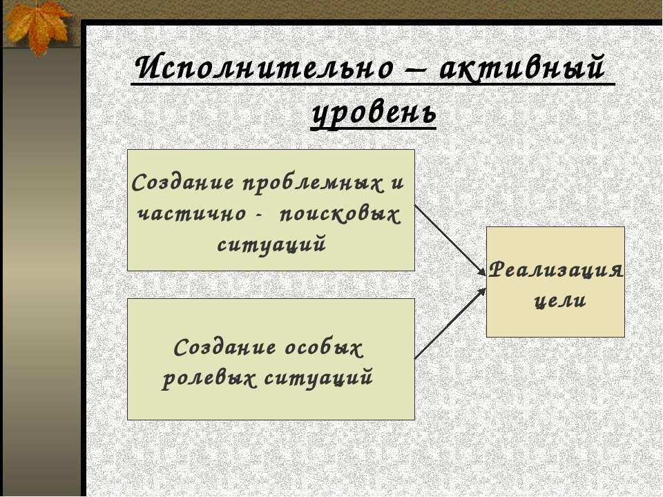 Исполнительно – активный уровень Создание проблемных и частично - поисковых с...