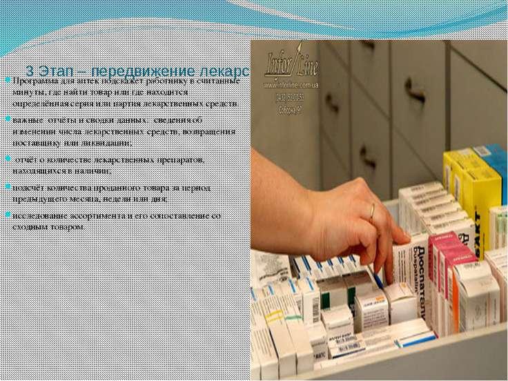 3 Этап – передвижение лекарственных средств по аптеке. Программа для аптек по...