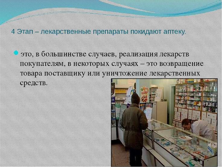4 Этап – лекарственные препараты покидают аптеку. это, в большинстве случаев,...