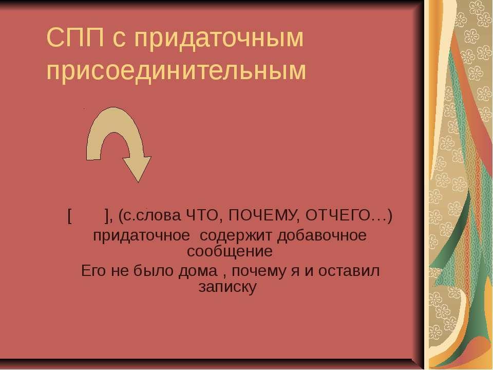 СПП с придаточным присоединительным [ ], (с.слова ЧТО, ПОЧЕМУ, ОТЧЕГО…) прида...