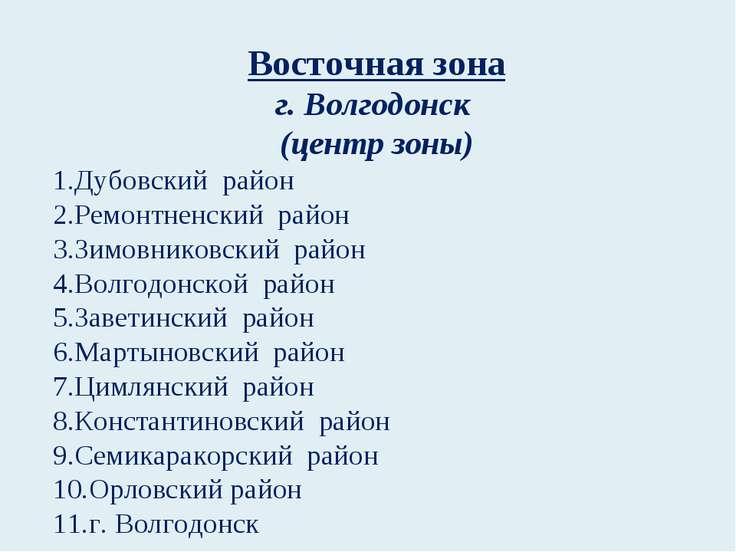 Восточная зона г. Волгодонск (центр зоны) Дубовский район Ремонтненский район...