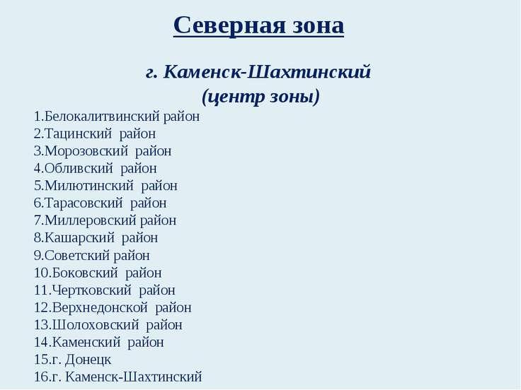 Северная зона г. Каменск-Шахтинский (центр зоны) Белокалитвинский район Тацин...