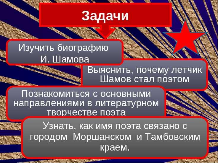 Задачи Выяснить, почему летчик Шамов стал поэтом Познакомиться с основными на...