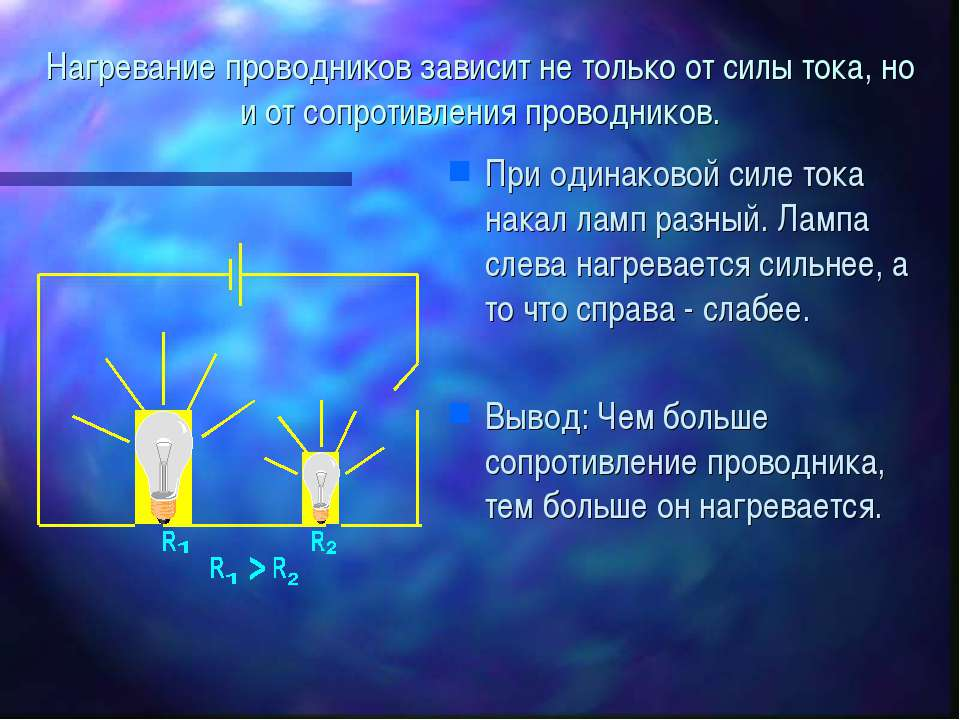 Нагревание проводников зависит не только от силы тока, но и от сопротивления ...