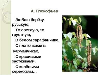 А. Прокофьев Люблю берёзу русскую, То светлую, то грустную, В белом сарафанчи...