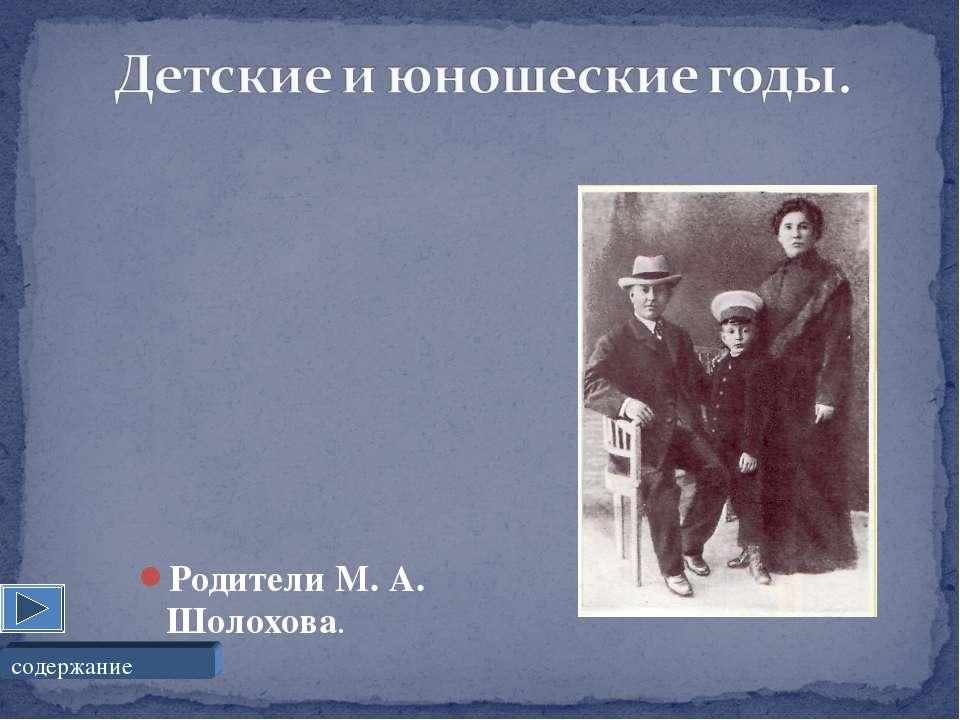 Родители М. А. Шолохова. содержание