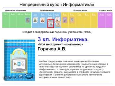 Учебник позволяет осваивать ИКТ как на отдельном уроке, так и в качестве моду...