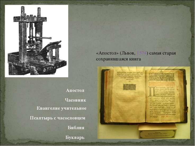 «Апостол» (Львов, 1574) самая старая сохранившаяся книга Апостол Часовник Ева...