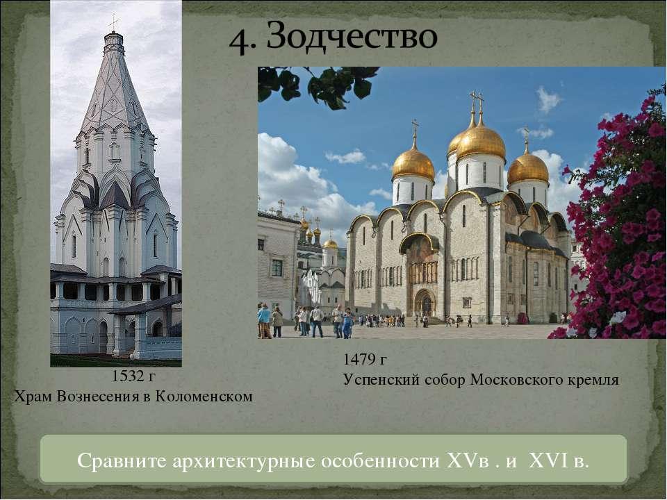 1532 г Храм Вознесения в Коломенском 1479 г Успенский собор Московского кремл...