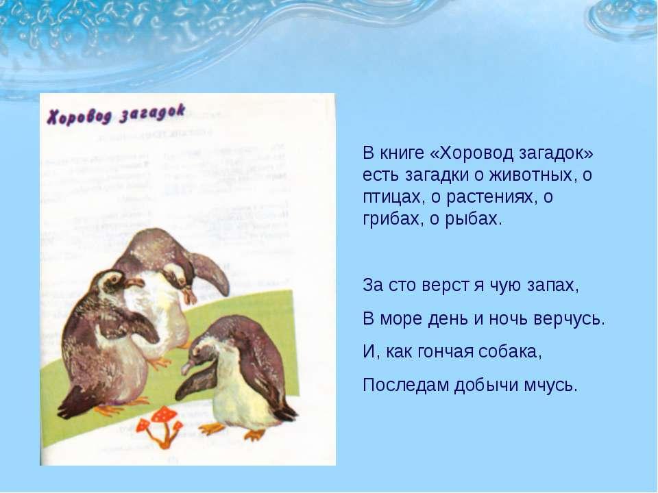 В книге «Хоровод загадок» есть загадки о животных, о птицах, о растениях, о г...