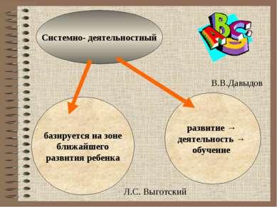 Системно- деятельностный базируется на зоне ближайшего развития ребенка разви...