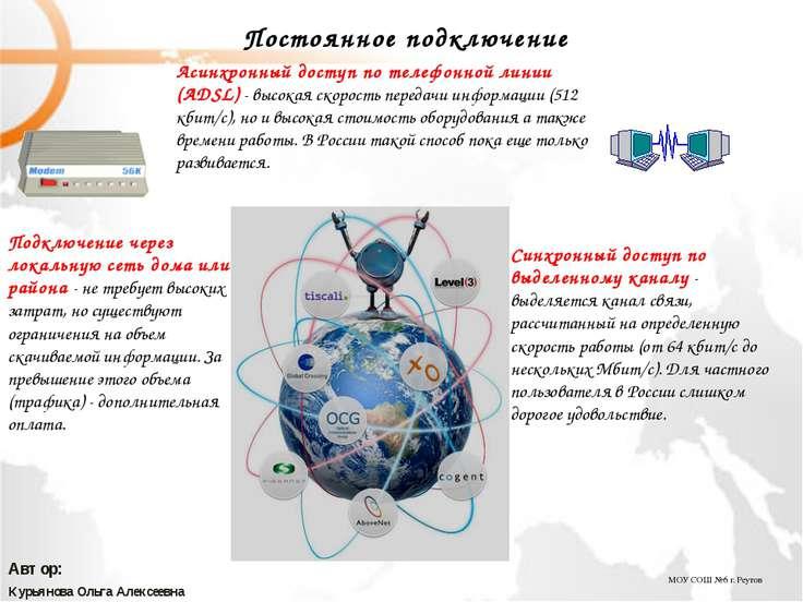 МОУ СОШ №6 г. Реутов Курьянова Ольга Алексеевна Автор: Постоянное подключение...