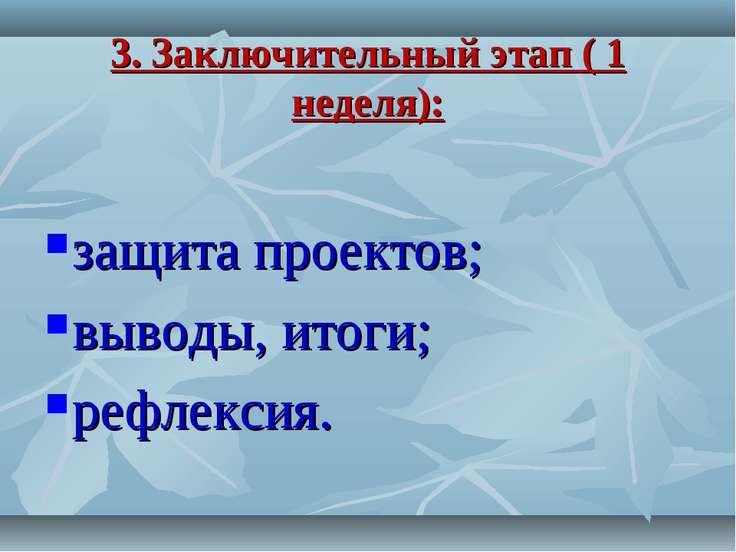 3. Заключительный этап ( 1 неделя): защита проектов; выводы, итоги; рефлексия.