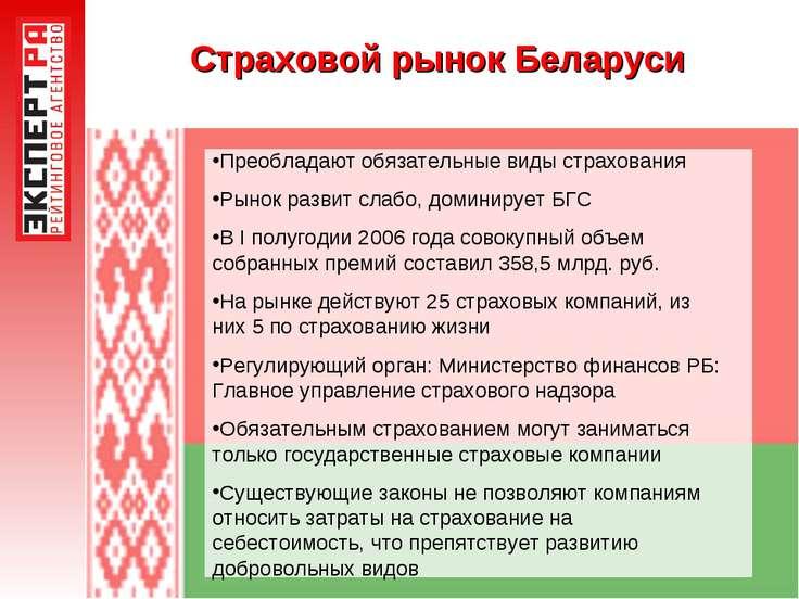 Страховой рынок Беларуси Преобладают обязательные виды страхования Рынок разв...