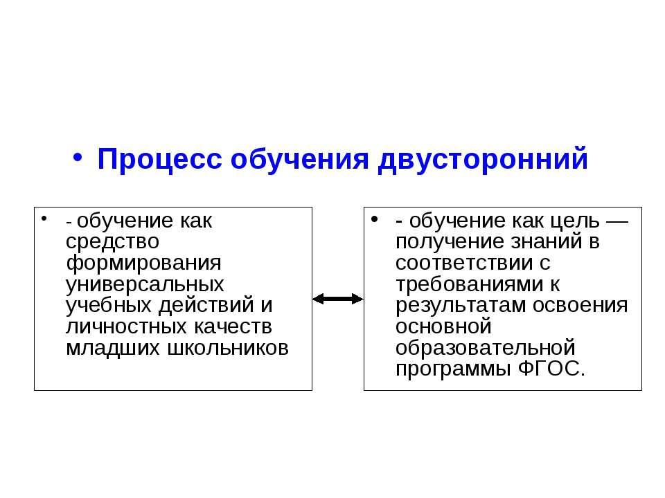 Процесс обучения двусторонний - обучение как средство формирования универсаль...