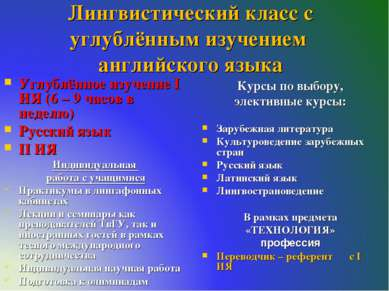Лингвистический класс с углублённым изучением английского языка Углублённое и...
