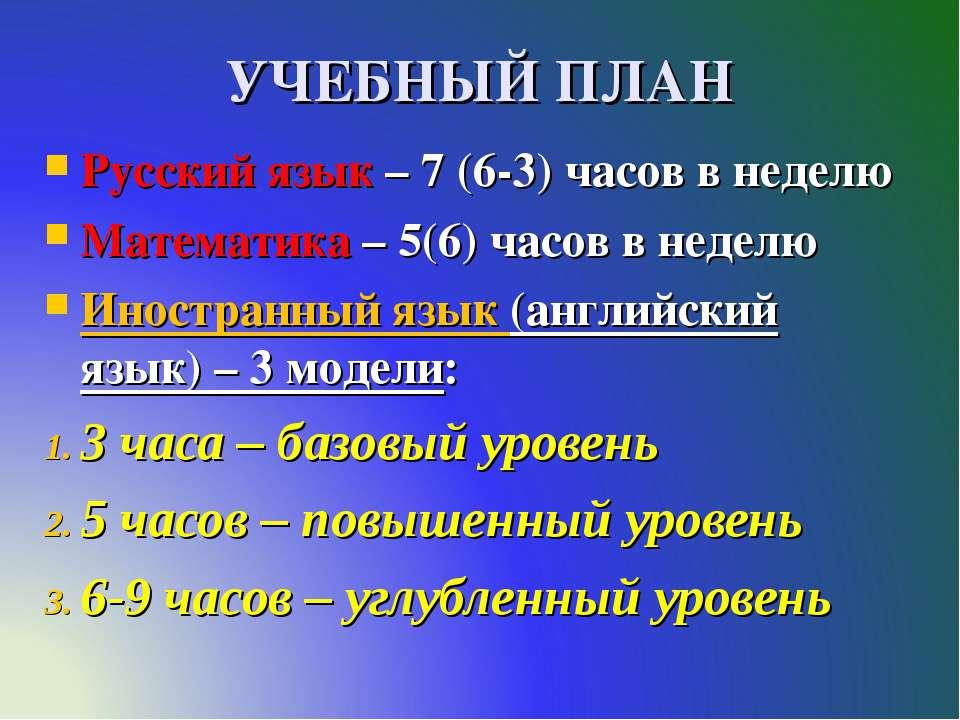 УЧЕБНЫЙ ПЛАН Русский язык – 7 (6-3) часов в неделю Математика – 5(6) часов в ...