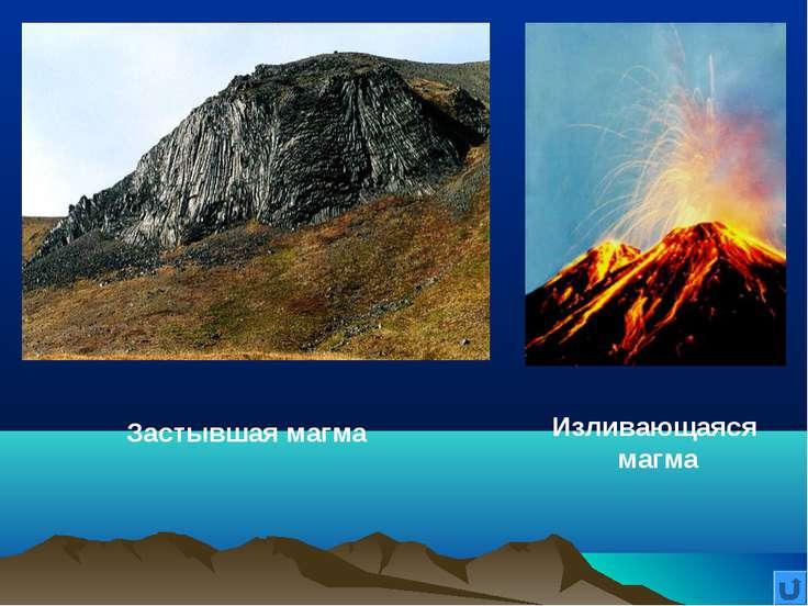 Изливающаяся магма Застывшая магма