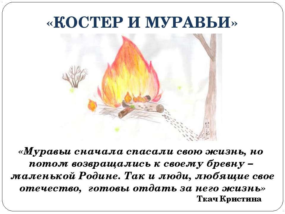 «КОСТЕР И МУРАВЬИ» «Муравьи сначала спасали свою жизнь, но потом возвращались...