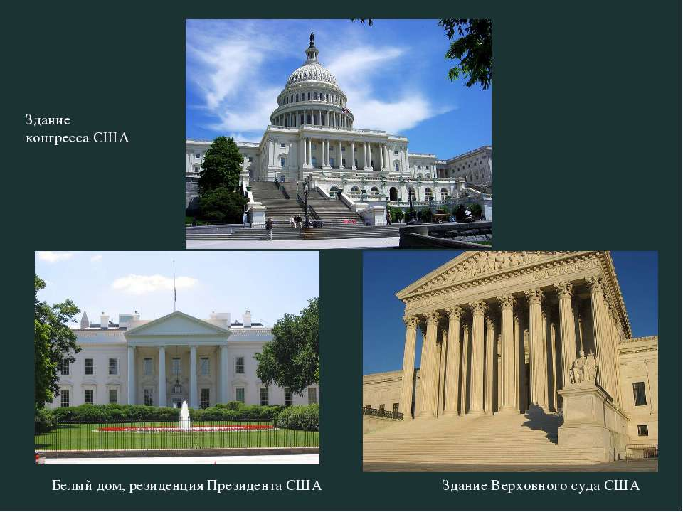 Здание конгресса США Белый дом, резиденция Президента США Здание Верховного с...