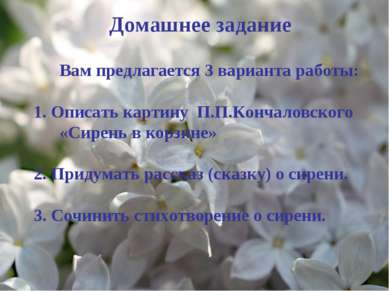Вам предлагается 3 варианта работы: 1. Описать картину П.П.Кончаловского «Сир...