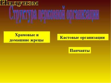 Храмовые и домашние жрецы Кастовые организации Панчаяты