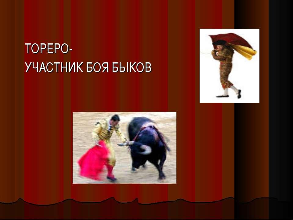 ТОРЕРО- УЧАСТНИК БОЯ БЫКОВ
