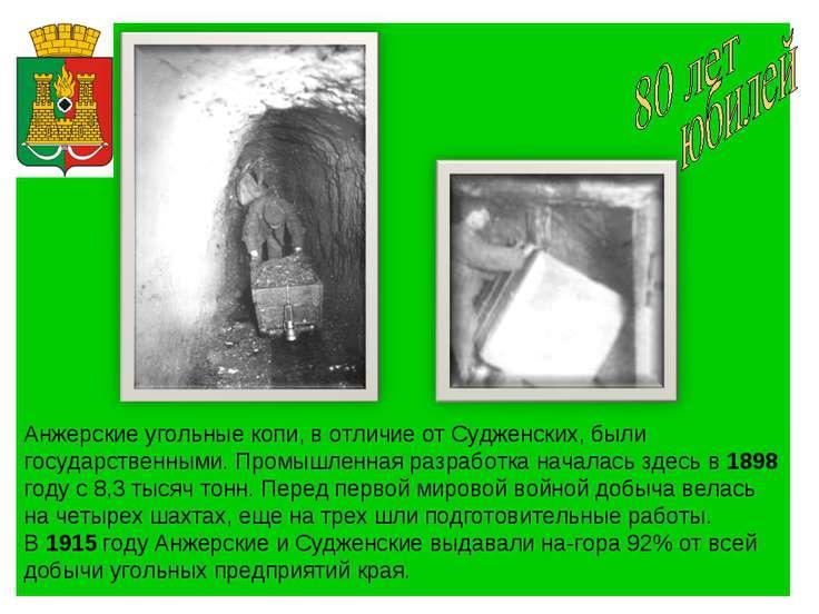 Анжерские угольные копи, в отличие от Судженских, были государственными. Пром...