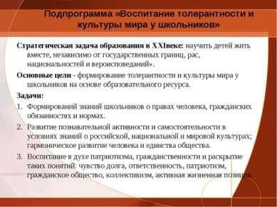 Подпрограмма «Воспитание толерантности и культуры мира у школьников» Стратеги...