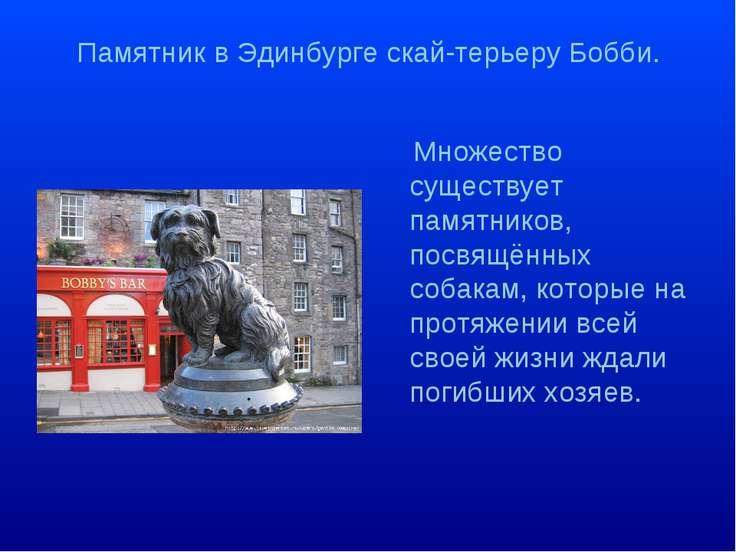 Памятник в Эдинбурге скай-терьеру Бобби. Множество существует памятников, пос...