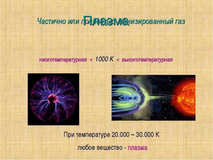 Плазма Частично или полностью ионизированный газ низкотемпературная < 1000 К ...