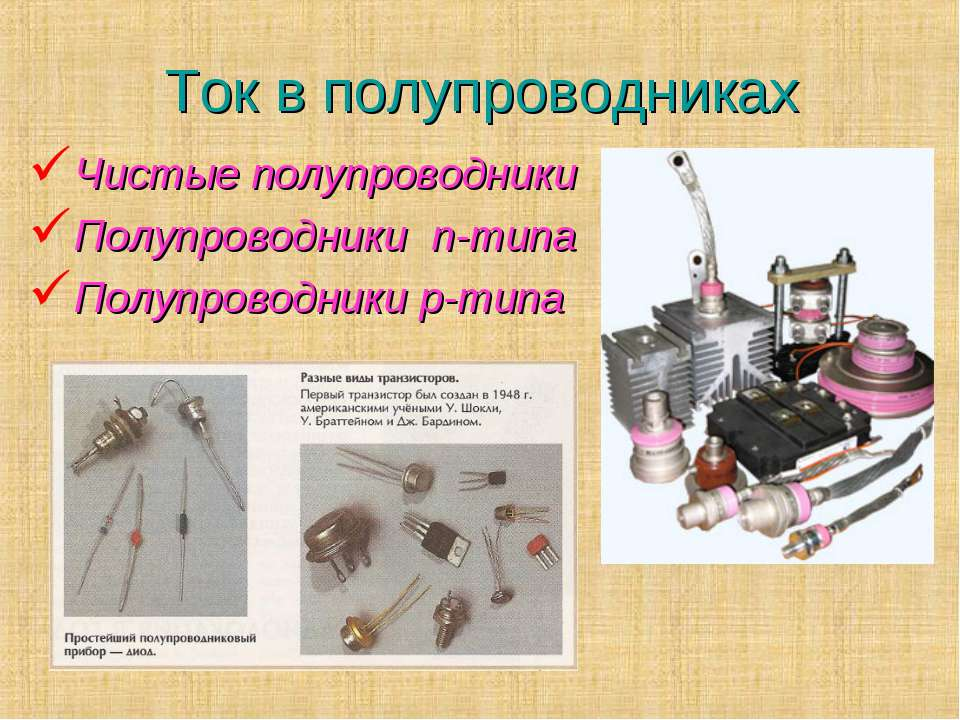 Ток в полупроводниках Чистые полупроводники Полупроводники n-типа Полупроводн...