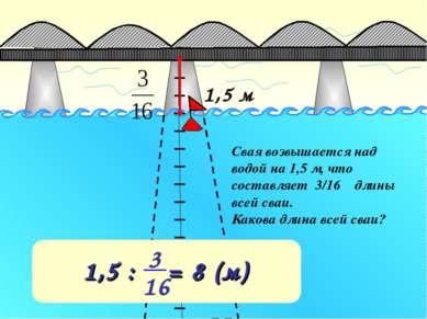 1,5 м Свая возвышается над водой на 1,5 м, что составляет 3/16 длины всей сва...