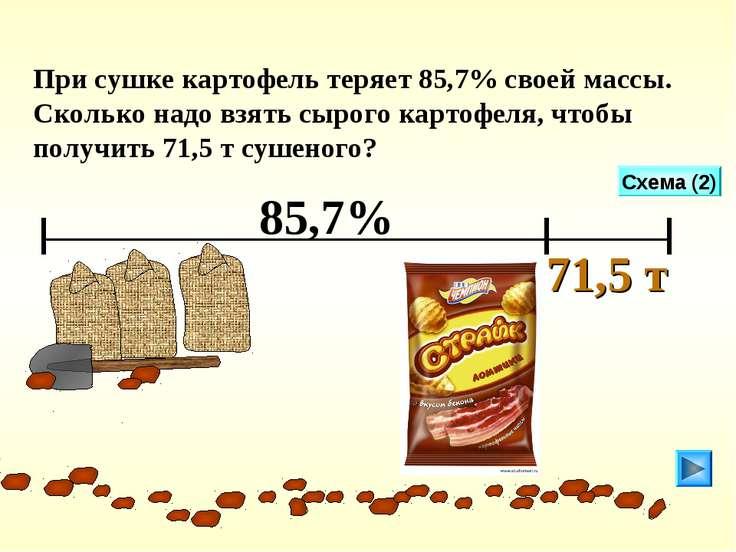 При сушке картофель теряет 85,7% своей массы. Сколько надо взять сырого карто...