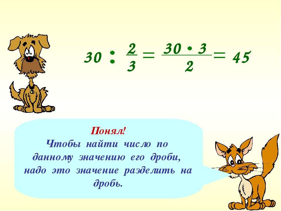 Понял! Чтобы найти число по данному значению его дроби, надо это значение раз...