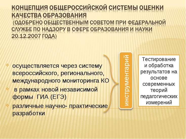 осуществляется через систему всероссийского, регионального, международного мо...