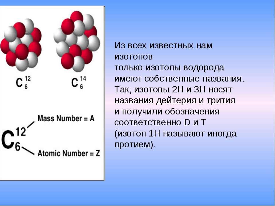 Из всех известных нам изотопов только изотопы водорода имеют собственные назв...